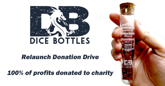 Dice Bottles Relaunch donation drive - 100% of profits donated to charity